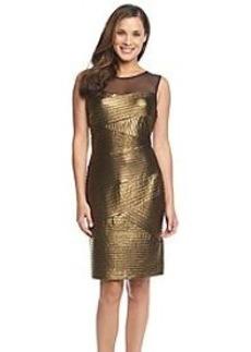 Calvin Klein Mesh Yoke Banded Foil Jersey Dress