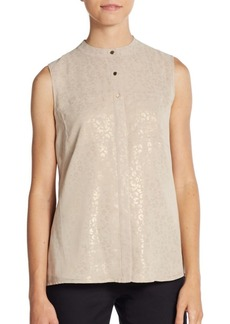 Calvin Klein Metallic Animal-Print Blouse