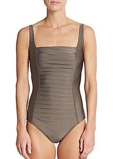 Calvin Klein Metallic Pleated Maillot Swimsuit