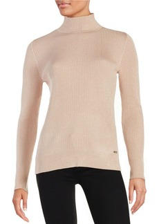 CALVIN KLEIN Metallic Ribbed Turtleneck
