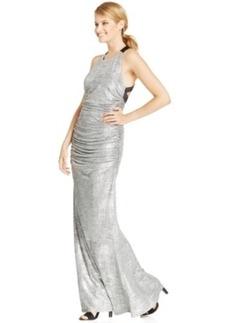 Calvin Klein Metallic Ruched Halter Gown