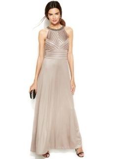 Calvin Klein Metallic Shutter-Pleat Halter Gown
