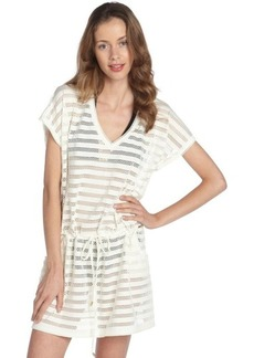 Calvin Klein milk stretch striped mesh drawstring waist coverup