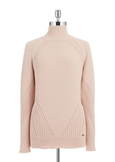 CALVIN KLEIN Mixed Knit Turtleneck Sweater