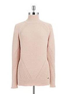 CALVIN KLEIN Mixed Knit Turtleneck Sweater
