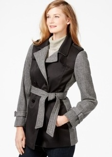 Calvin Klein Mixed-Media Herringbone Trench Coat