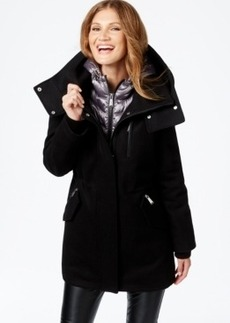 Calvin Klein Mixed-Media Layered Duffle Coat