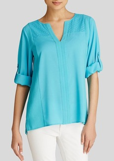Calvin Klein Mixed Media Roll Sleeve Blouse