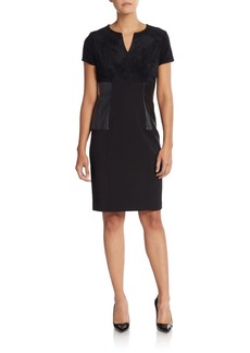 Calvin Klein Mixed Media Sheath Dress