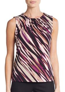Calvin Klein Mixed Stripe Pleated-Neck Top