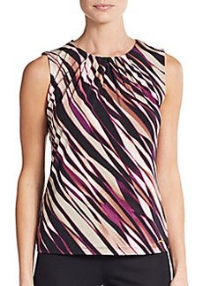 Calvin Klein Mixed Stripe Pleated-Neck Top