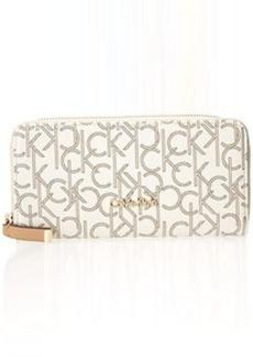 Calvin Klein Monogram Zip Continental Wallet,Almond/Khaki/Camel,One Size