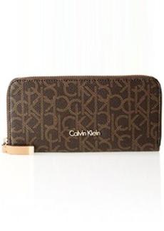 Calvin Klein Monogram Zip Continental Wallet,Brown/Khaki/Camel,One Size