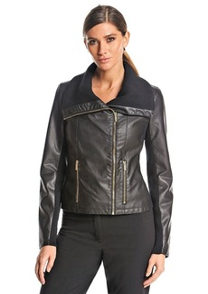 Calvin Klein Moto Jacket With Sweater Inset