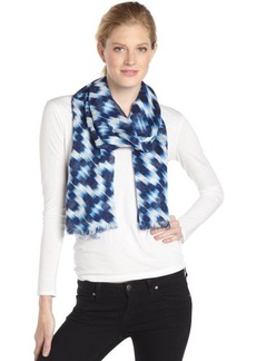 Calvin Klein navy and white ikat print scarf