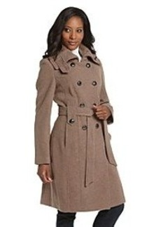 Calvin Klein Oatmeal Double-Breasted Knit Collar Belted Coat