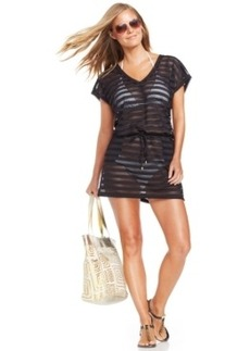 Calvin Klein Open-Knit Striped Tunic Cover Up Women's Swimsuit