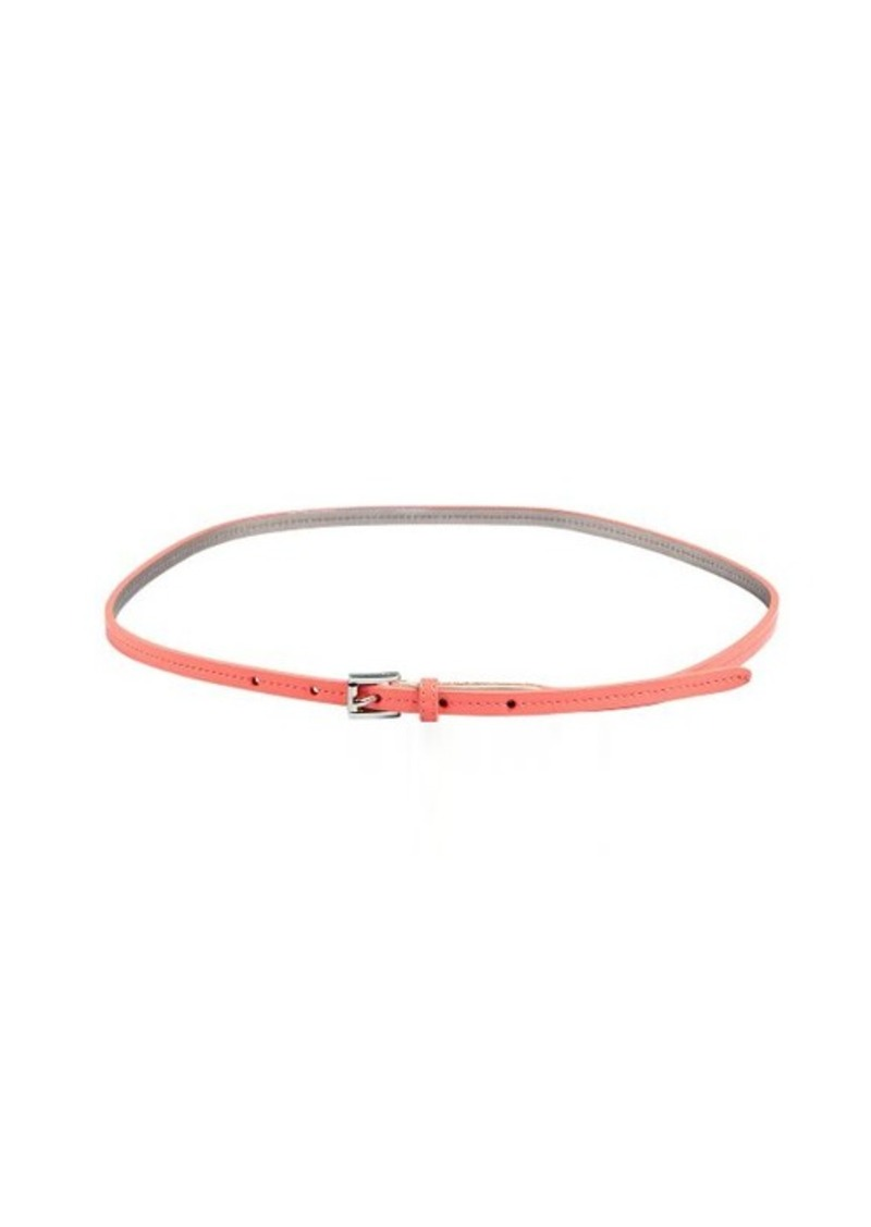 Calvin Klein orange patent skinny belt