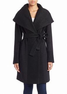 CALVIN KLEIN Oversized-Collar Belted Coat