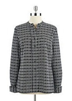 CALVIN KLEIN Patterned Button Down Blouse
