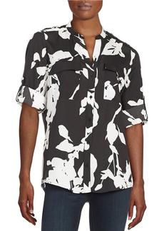 CALVIN KLEIN Patterned Button-Front Blouse