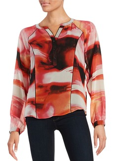 CALVIN KLEIN Patterned Crepe Blouse