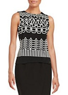 CALVIN KLEIN Patterned Pleated Blouse