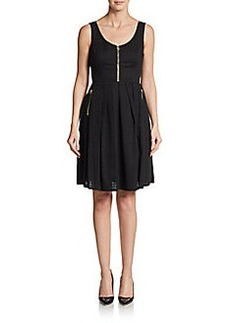 Calvin Klein Patterned Zipper Fit-&-Flare Dress