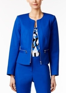 Calvin Klein Peplum-Back Zip-Up Blazer