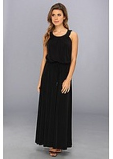 Calvin Klein Perforated Pu Matte Jersey Maxi Dress