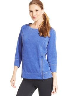Calvin Klein Performance Distressed Zippered-Hem Sweatshirt