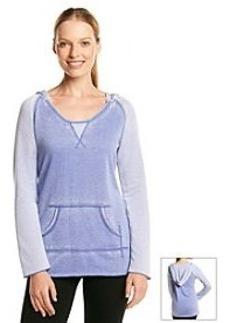 Calvin Klein Performance Long Pullover Distressed Fleece Color Block Top