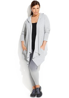 Calvin Klein Performance Plus Size Draped Open-Front Hoodie