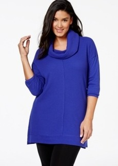 Calvin Klein Performance Plus Size Long-Sleeve Cowl-Neck Top, Only at Macy's