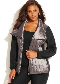 Calvin Klein Performance Plus Size Mixed-Media Asymmetrical Puffer Jacket