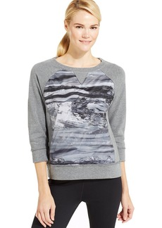 Calvin Klein Performance Three-Quarter-Sleeve Printed Pullover