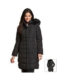 Calvin Klein Performance Women's Quilted Coat with Faux Fur Trimmed Hood
