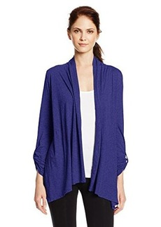 Calvin Klein Performance Women's Open-Front Cardigan Sweater with Roll-Tab Sleeves