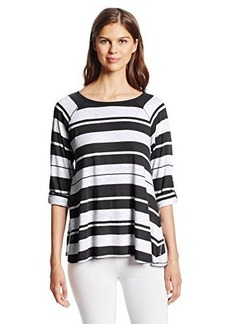 Calvin Klein Performance Women's Relaxed Roll Tab Sleeve Stripe Tunic