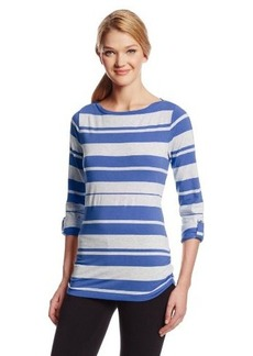 Calvin Klein Performance Women's Stripe Envelope Neck Tee with Roll Sleeves