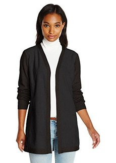 Calvin Klein Women's Cardi with Suede Front, Black, X-Large