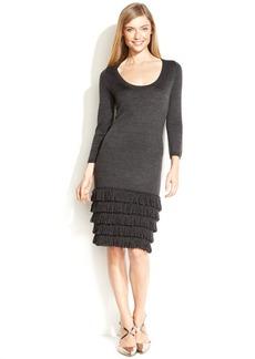 Calvin Klein Petite Dress, Three-Quarter-Sleeve Fringe-Paneled Sweater