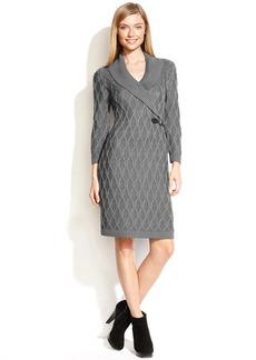 Calvin Klein Petite Dress, Three-Quarter-Sleeve Knit Buckle Sweater