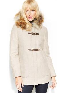 Calvin Klein Petite Faux-Fur-Trim Buckle Wool-Blend Coat