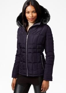 Calvin Klein Petite Faux-Fur-Trim Water-Resistant Quilted Coat