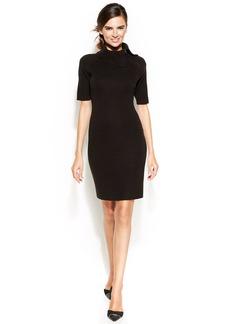 Calvin Klein Petite Short-Sleeve Fold-Over Collar Sheath