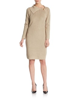 Calvin Klein Pinned Lurex-Detailed Sweater Dress