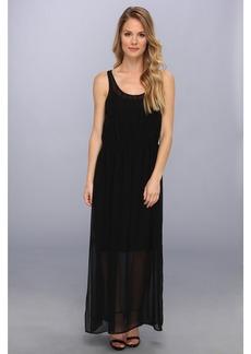 Calvin Klein Pintuck Maxi Polyester Chiffon Dress