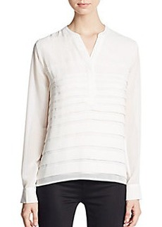 Calvin Klein Pintuck Pleated Chiffon Blouse