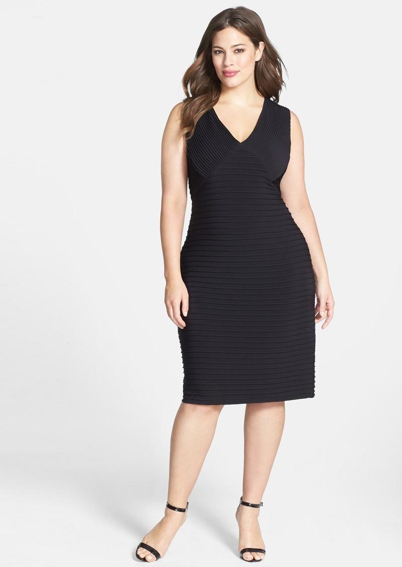 Calvin Klein Pintuck V-Neck Sheath Dress (Plus Size)
